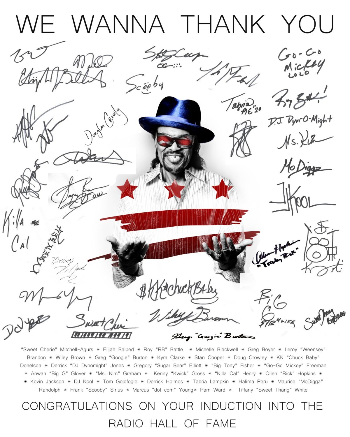 The signed poster thanking Donnie Simpson.