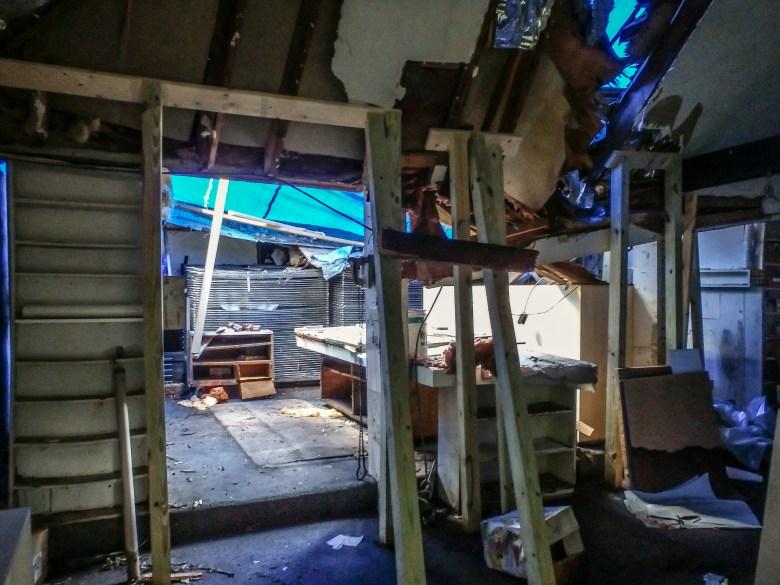 The destruction inside Lou Stovall's studio.