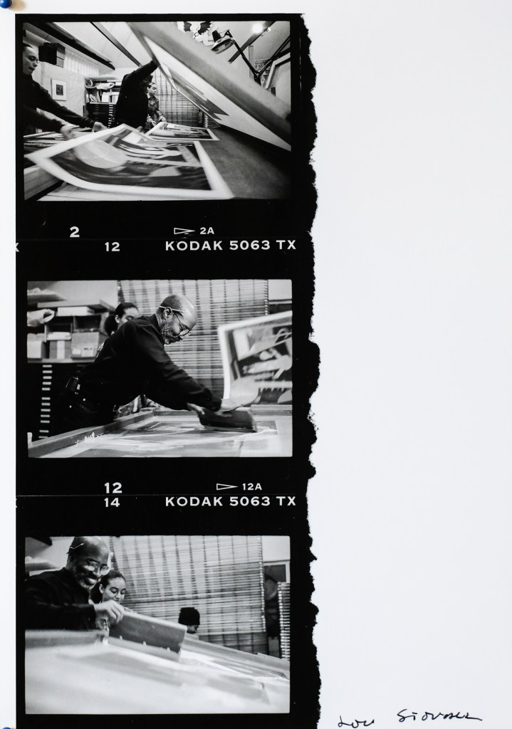 Lou Stovall working in his studio in 1997.