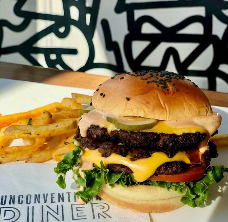 Unconventional Diner Double Cheeseburger
