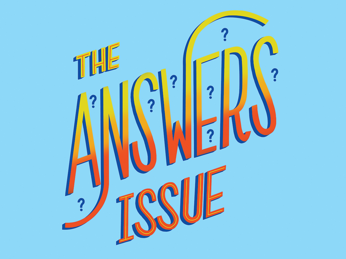 Text reading The Answers Issue