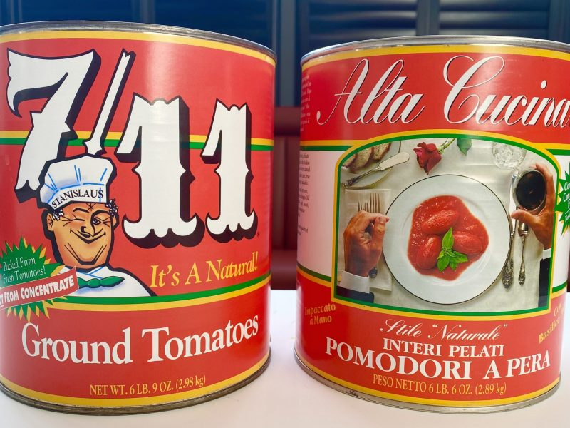 Tomato sauce cans at Caruso's Grocery