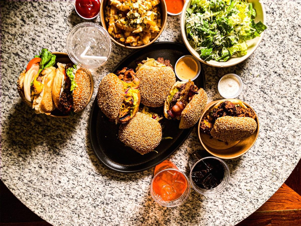 Selection of burgers at Sandi Buns