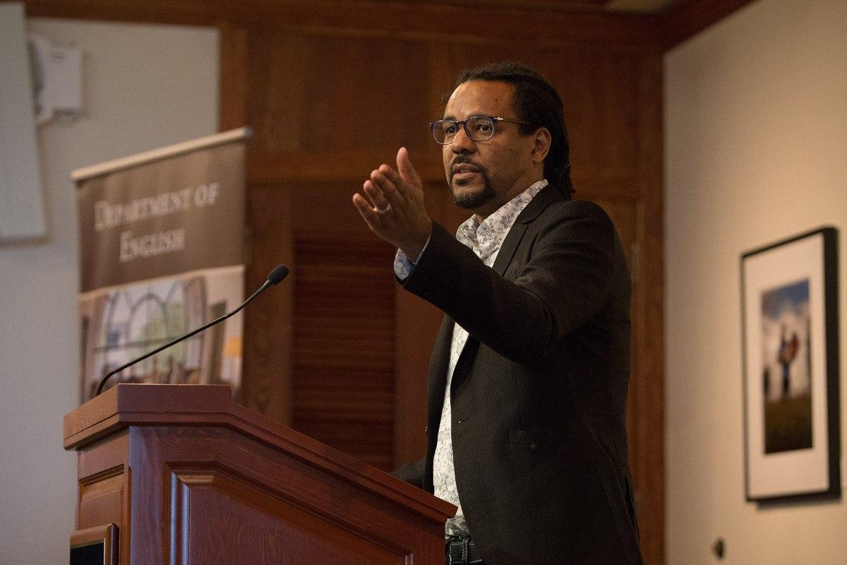 Colson Whitehead gesturing at a 2018 talk.