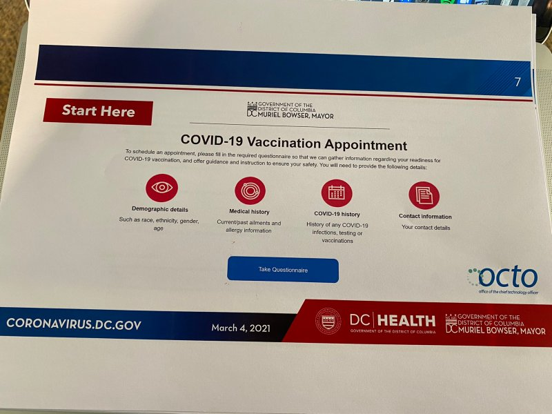 First page of new D.C. vaccine portal