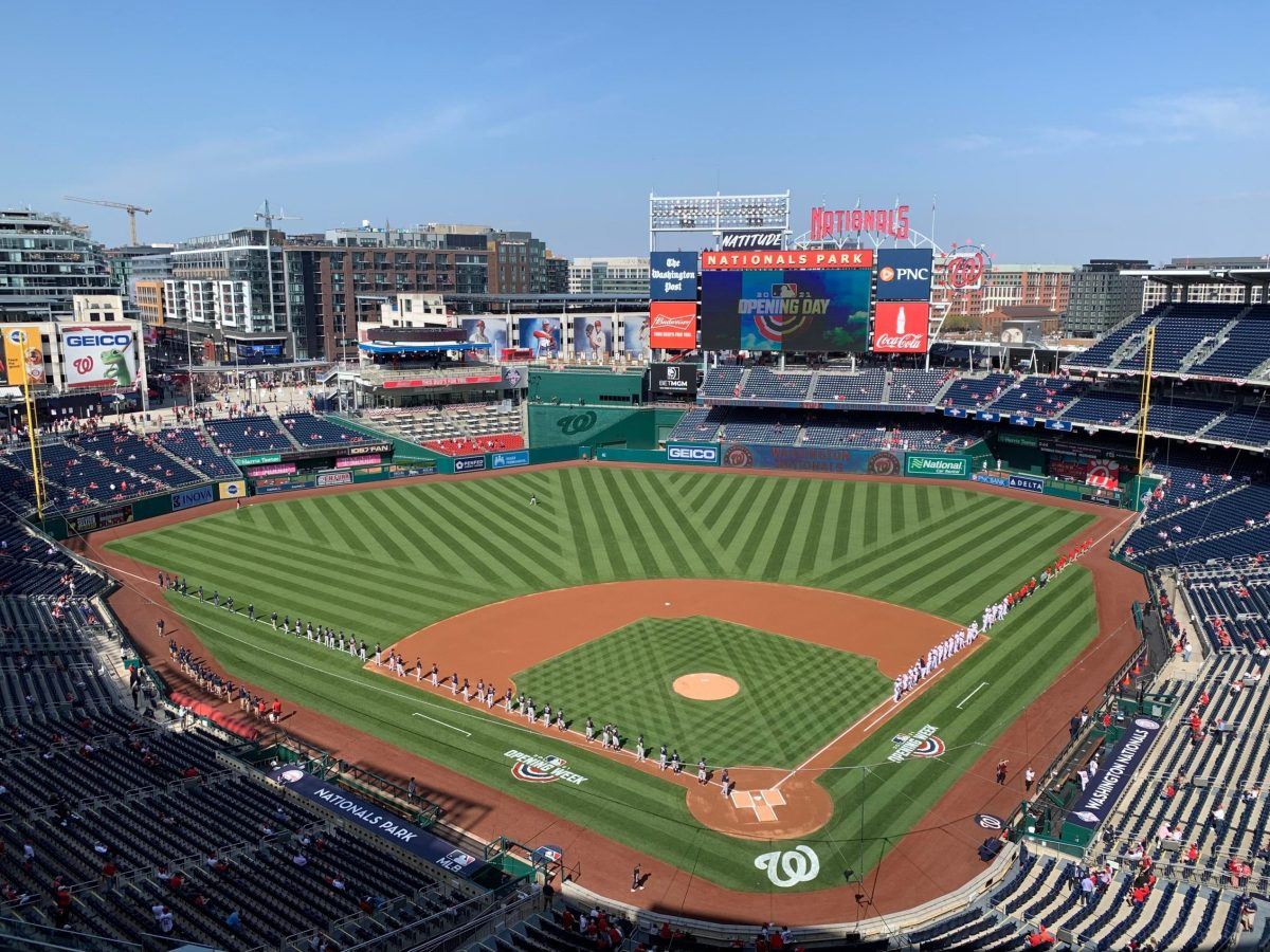 Landscape of players lined up on sidelines of Nationals Park
