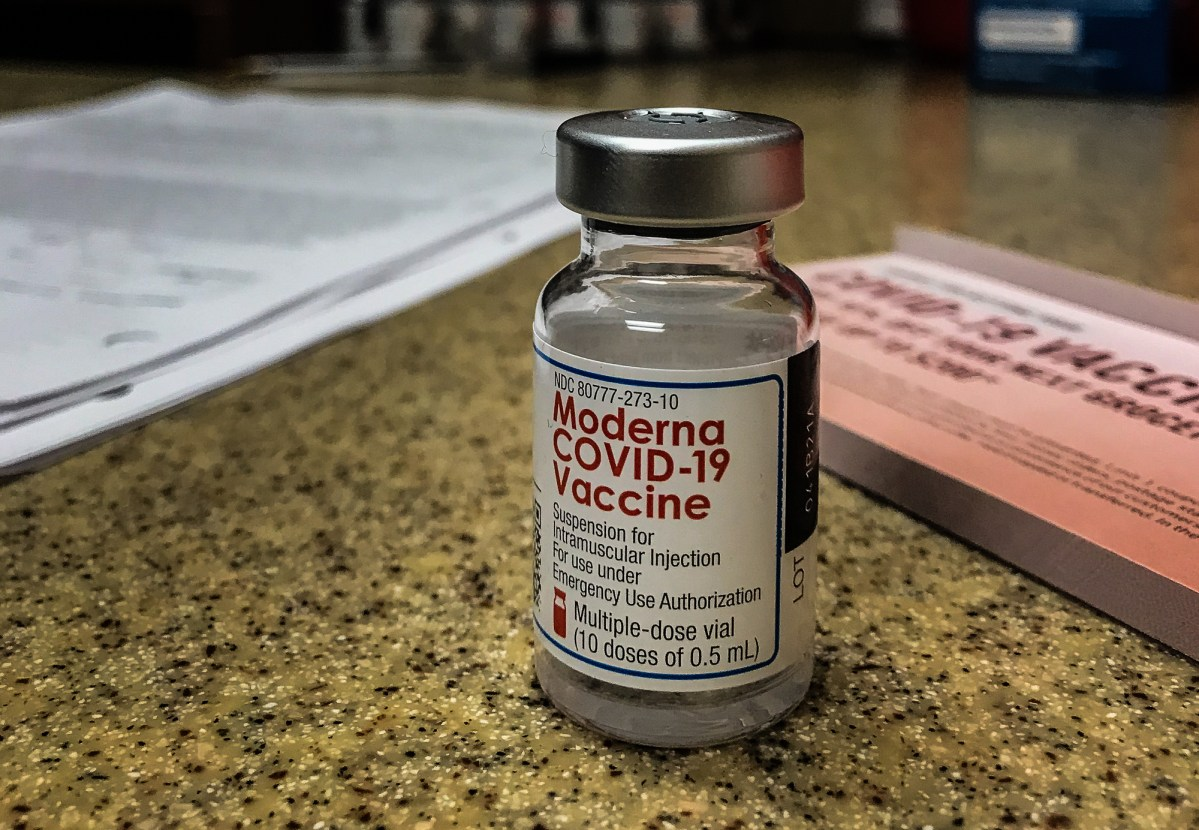 A vial of the Moderna COVID-19 vaccine