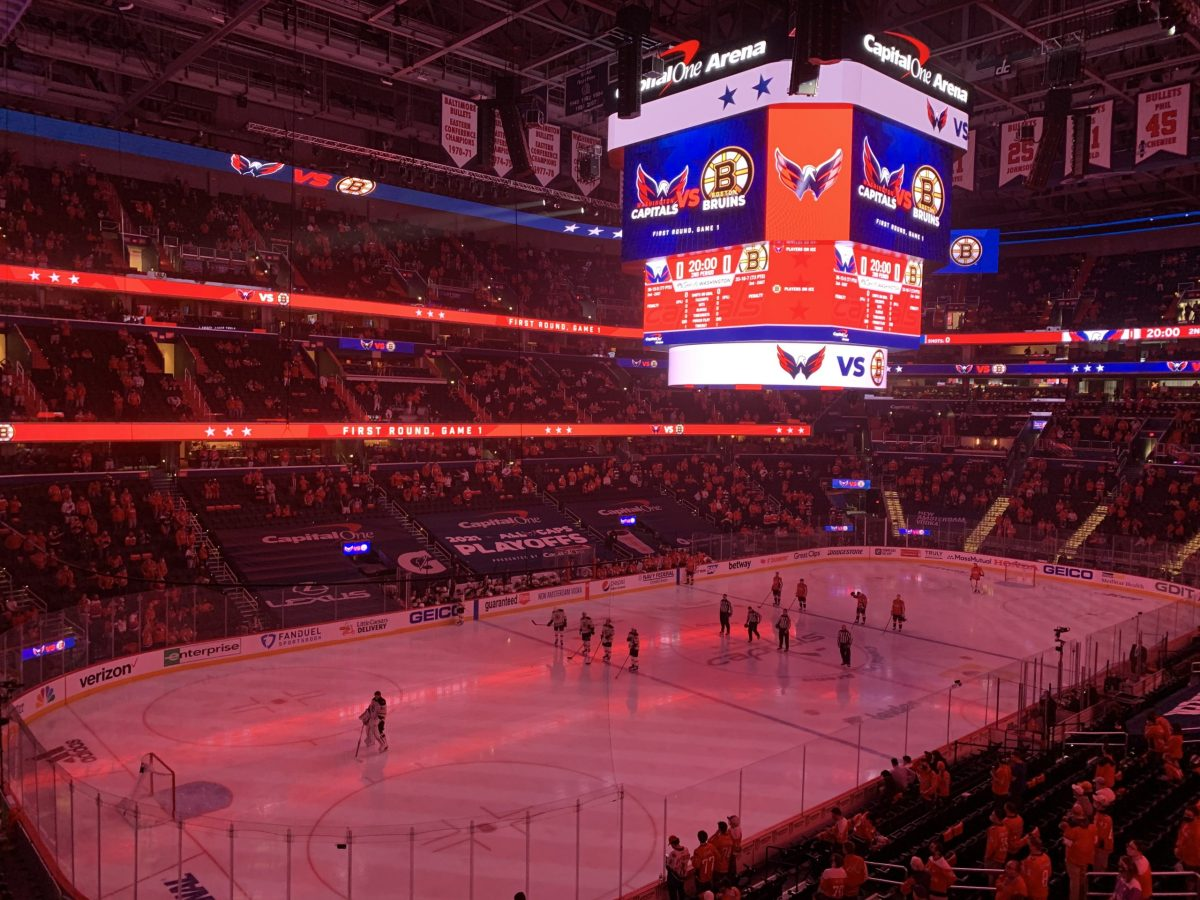 The Washington Capitals play the Boston Bruins at Capital One Arena on May 15, 2021.