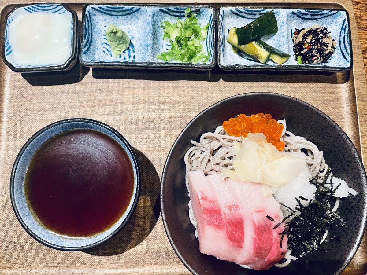 Yellowtail and salmon roe cold coba at Akira