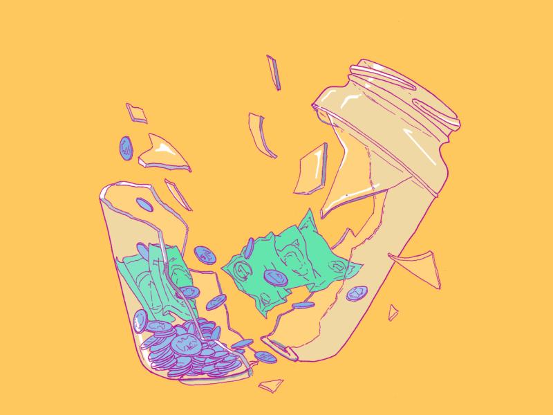 An illustration of a tip jar