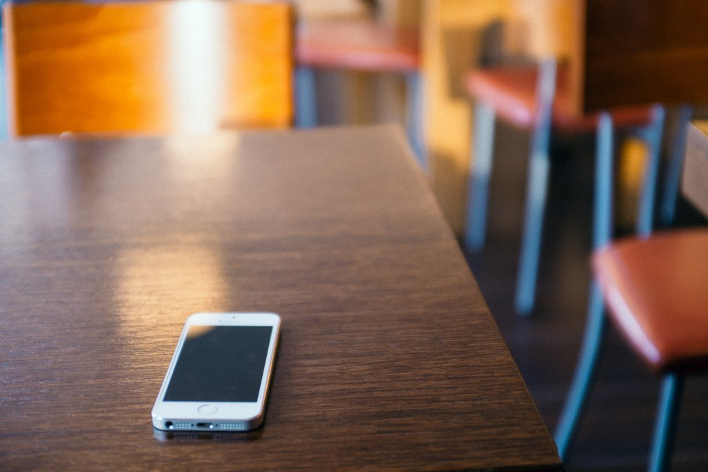 Smartphone on a restaurant table