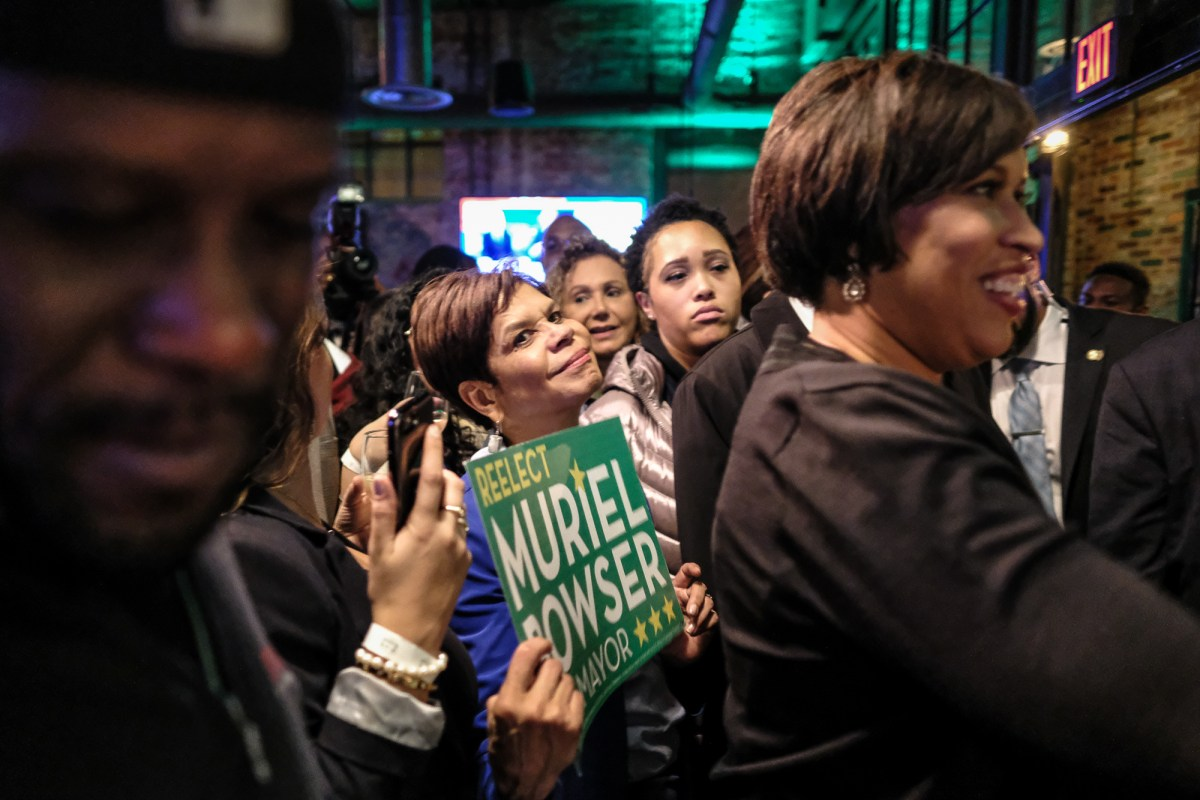 Brenda Donald and Muriel Bowser at a campaign event