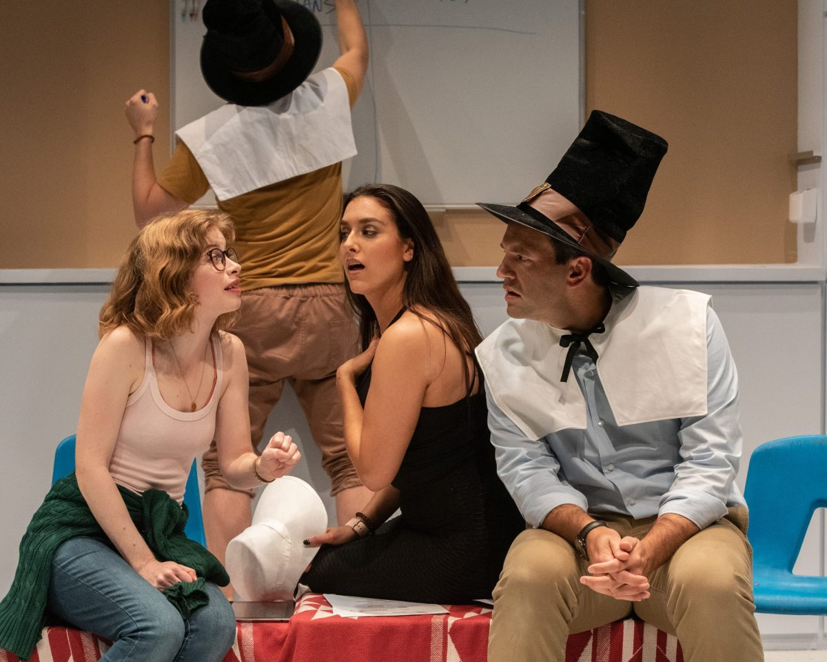 Megan Graves, Dani Stoller, and David Schlumpf in The Thanksgiving Play at Olney Theatre Center.