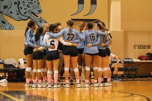 Lady jags circle up to serve up some teamwork.
