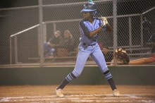 Senior Mikayla Briggs waits at bat to hit a home run. Photo by Danielle Bellow.