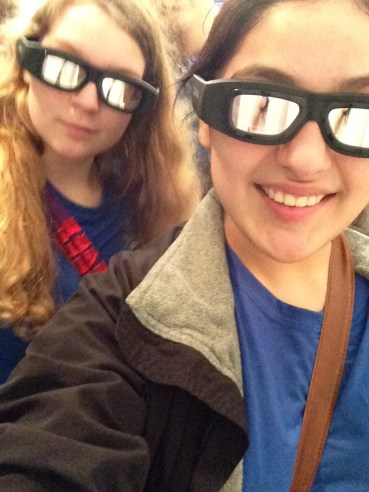 Got the 3-D glasses on and ready to watch the movie in the MEGA Theater.