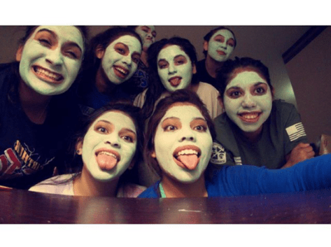 All the Angels and their facial masks the night before competing. Madison Wall, Sydney DeLeon, Mia Martinez, Ana Barba, Janelle Garcia, Jessica Parra, Kristy Beers, Karen Garcia