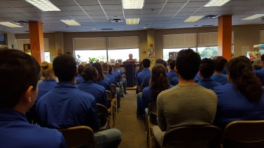 Cadets gathered in the library to hear Holocaust Survivor Anna