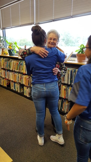Cadet Private Daniela Munoz hugg Annie after she shared her experience.