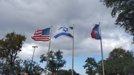 Flags displayed outside of the building.