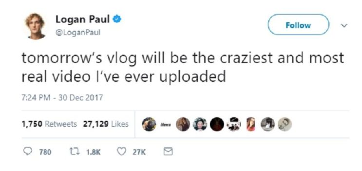 Logan Paul's tweet before uploading the video with the suicide victim. From netshark.com