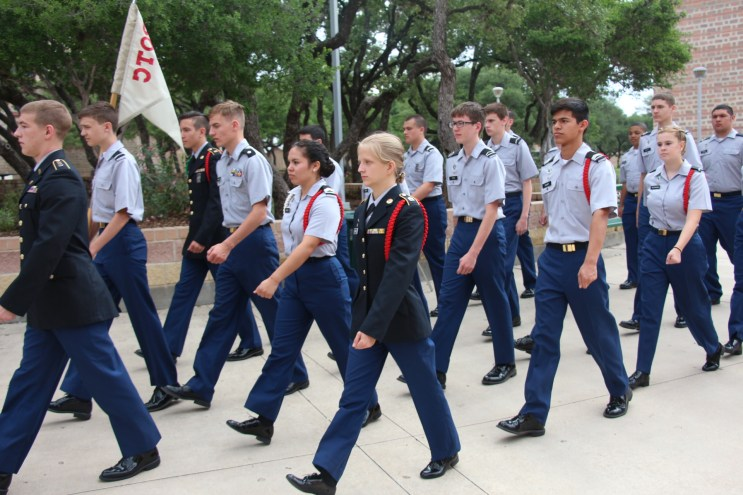 Charlie Company marches in formation at dismissal.