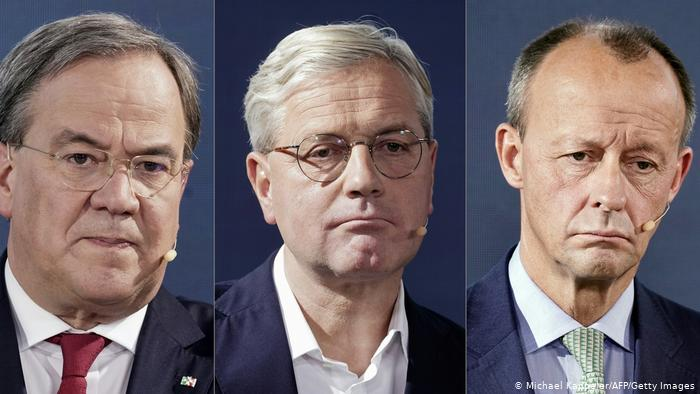 CDU leadership candidates Armin Laschet, Norbert Röttigen, and Friedrich Merz