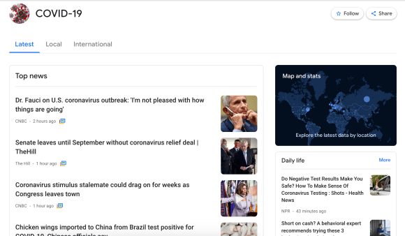 """Screenshot of the COVID-19 """"experience"""" on Google News"""