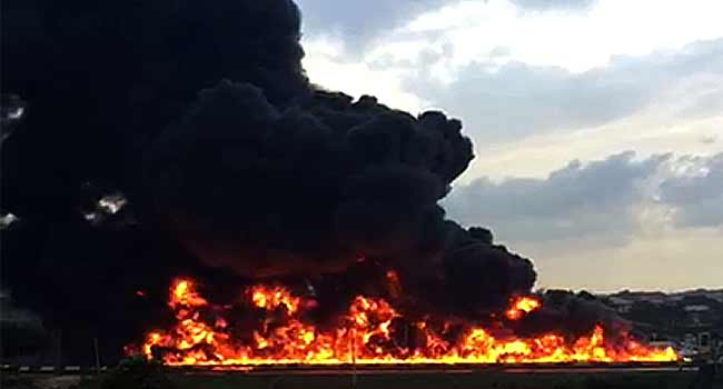 ICYMI: Watch Video Of Fire Explosion On Otedola Bridge After Fuel Tanker Exploded Early Hours Of Today