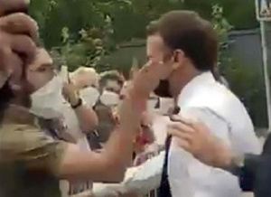 See Video Of Moment Protester Slapped French President Emmanuel Macron