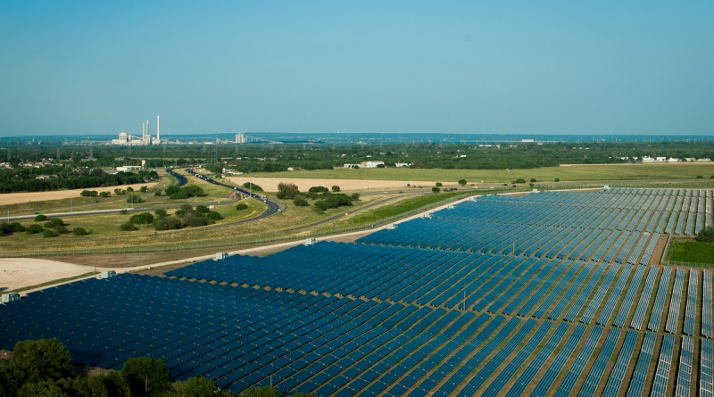 (Image) CPS Energy buys power from the Blue Wing solar farm; in the distance are the utility's coal plants.