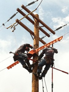 Journeyman switch change-out – the linemen team finishing up on their final rodeo event.