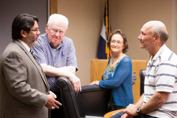 John Leal, CPS Energy briefs CAC Chair Joe Shockney ,Esther DeLeon District 1and Michael Moczygemba Member at Large.