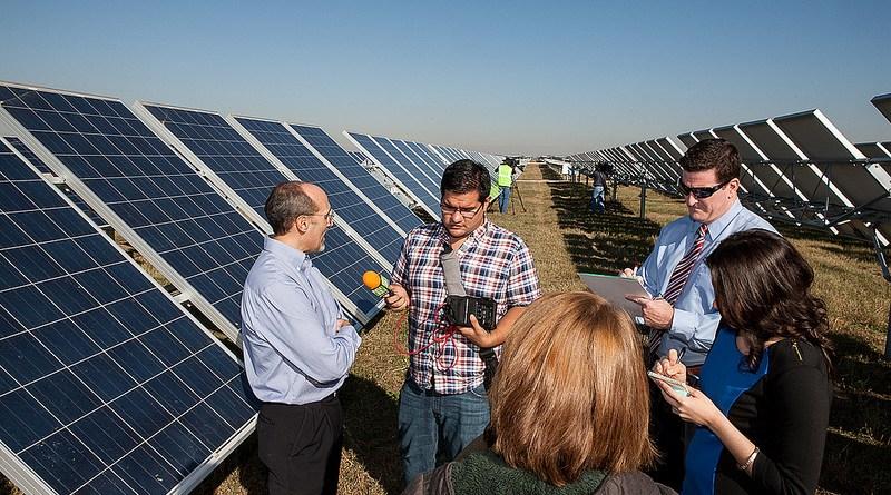 (Image) OCI Solar Power CEO Tony Dorazio talking to the media about jobs created in San Antonio's growing solar sector.