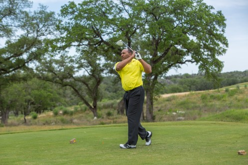 Each year members of the CPS Energy Board of Trustees take part in the annual tournament. Board member Derrick Howard shows fine form at this year's event.