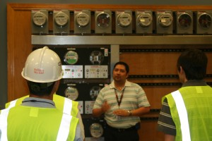 Interns at Green Mountain learning about meters.