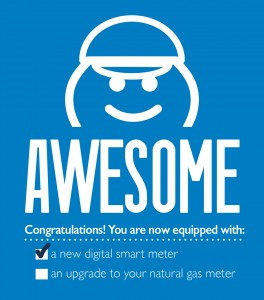 This is what our installer will leave hanging on your door after a successful smart meter installation. Awesome!