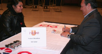 (Image) High School student Kassandra is interviewed by OCI Solar Power's Robert Mendoza