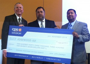 Edgewood ISD representatives receive symbolic check for DR financial incentives.