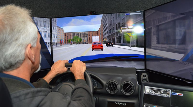 Our employees practice safe driving techniques through a driving simulator.