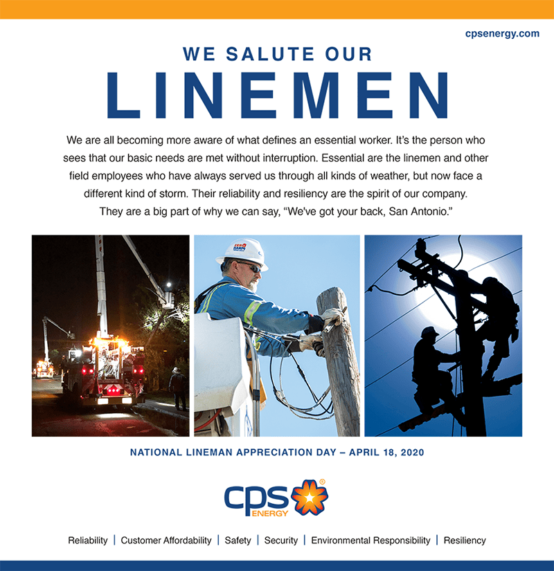 We salute our linemen ad