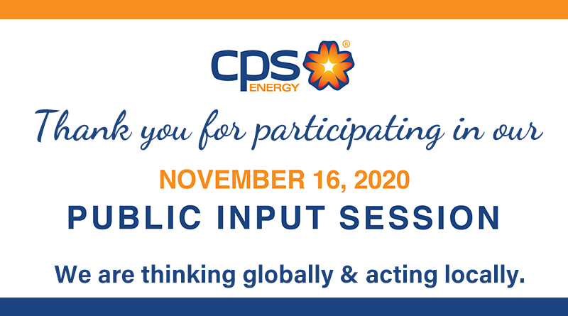 Graphics thanking public for participating in November Public Input Session