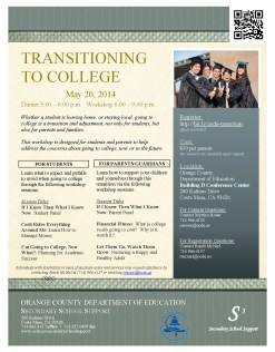 Transition to College workshop flyer