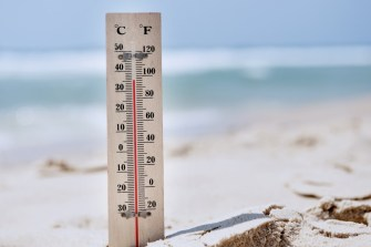 Thermometer on the beach