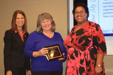 Sylvia Cieply receiving the 2015 I Love My Librarian Award