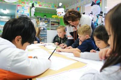 Kindergarteners in a classroom
