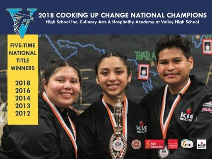 Three high school culinary students