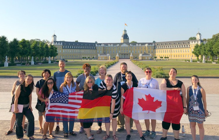 Educators with flags