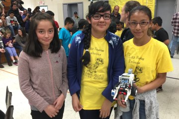 Students at a robotics competition