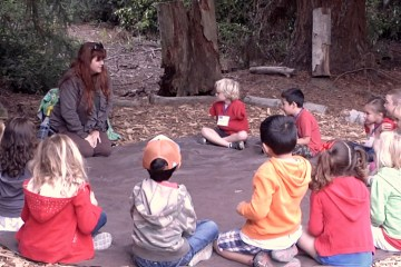 Students sitting in a circle during an Inside the Outdoors field trip